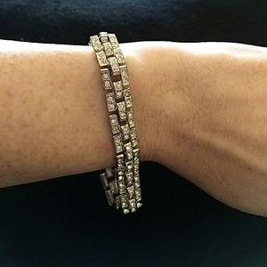 art deco bracelet silver crystal Swarovski